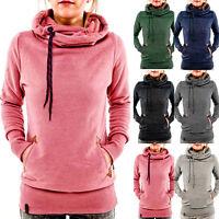 Women Pocket Hoody Hoodie Long Sleeve Hooded Sweatshirt Pullover Coat Jumper Top