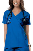 Cherokee Women's Workwear Short Sleeve Pocket Mock Wrap Scrub Top. 4741