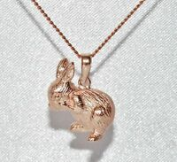 9ct Rose Gold on Silver Fluffy Bunny Rabbit Pendant / Necklace