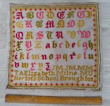 More details for old needlework school alphabet sampler heriot's school broughton