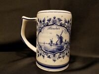 Vintage - Delft Holland - Heineken Beer Stein Mug with Horse Team & Windmill