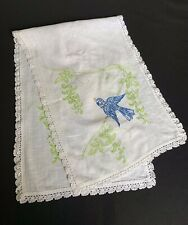Vintage White With Hand Embroidery Bluebirds & White Crochet Trim