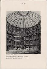 Vintage '50s Print Architect BUNNING Interior Court COAL Exchange LONDON ENGLAND
