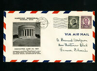 US Stamps # 612 Harding Memorial Cover Cachet June 16 1931