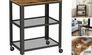 """3-Tier Kitchen Serving Bar Cart on Wheels with Storage 23.6"""" Rustic Brown"""