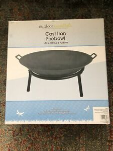🔥 Fire Pit Cast Iron Wood Burner Fire Bowl Patio Garden Outdoor - 67cm🔥