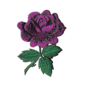 Rose - Flower - Majestic - Purple Shimmering Embroidered Iron On Applique Patch