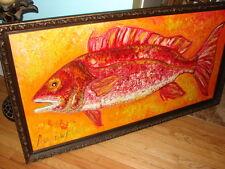 HUGE  FISH ORIGINAL OIL PAINTING RED SNAPPER WITH ANTIQUE FRAME ANN SUSAN ELMER