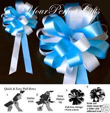 """TURQUOISE BLUE WHITE WEDDING 8"""" PEW BOWS BRIDAL SHOWER"""