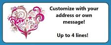 60 Personalized Heart Colorful Floral Return Address Labels