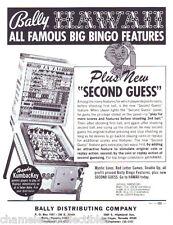 Bally HAWAII Original 1973 NOS Bingo Game Pinball Machine Promo Sales Flyer Adv.