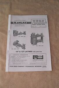 Atlas Lathes Instructions And Parts List