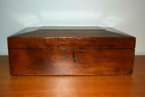 Antique Wooden Dome Top Document Box with Key