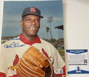 Bob Gibson Signed St Louis Cardinals HOF 8x10 Photo Beckett BAS COA Autograph