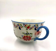 Anthropologie CADIZ Floral Mug Cup 3D Flower Handle Red Yellow Blue Green