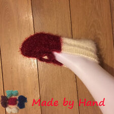 Ladies Shiny Bright Lurex Handmade Winter Warm Flower Patch Knitting Socks