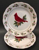 "Vintage Gibson 'Holiday Cardinals' 6-3/4"" Salad/Dessert Plates Set of 2"