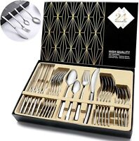 24Pcs Flatware Cutlery Set Knife Fork Spoon Stainless Steel Silverware Service 6