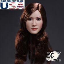 1/6 Asian Female Head Sculpt C Brown Hair For PHICEN TBLeague HotToys Figure USA