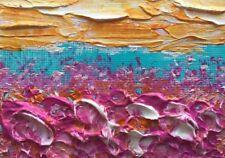 "SUNNY FLOWER GARDEN Acrylic ACEO Painting Miniature 2.5""x 3.5"" Julia Garcia NEW"