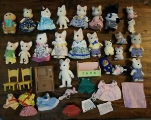 1985 Calico Critters Sylvanian Families Lot of 23 Cats Dog Kitten Mice Epoch