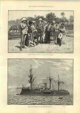 1889 French Navy Redoubtable Ironclad Burma Sketches Friendly Chat Villagers