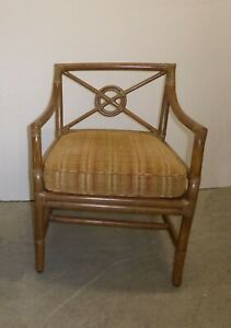 Vintage Mid Century Modern McGuire Tan Stripped Bamboo Rattan Accent Chair