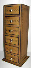 Box 6 Drawer Vintage Style hand painted wood and brass knobs 31x10x10cm