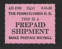 1955 Pennsylvania Railroad Prepaid Shipment Stamp - Mint Never Hinged
