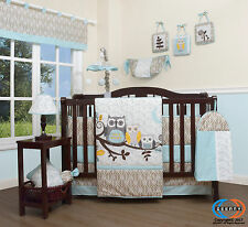 15PCS Enchanted Forest Owls Baby CRIB BEDDING SET -Including Mobile & Lamp SHADE