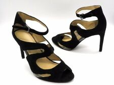 BCBG PARIS Size 11 Black Suede Cutout Stilettos High Heel Strappy Clear Shoes