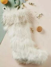 NEW Anthropologie Ivory Faux Fur Christmas Stocking Large 21.5""