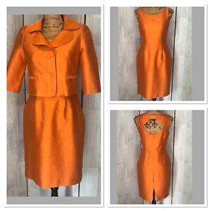 Hobbs Orange Silk + Wool Blend Fitted Dress And Jacket Suit Uk10