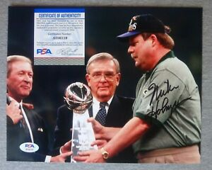1997 GREEN BAY PACKERS- MIKE HOLMGREN AUTOGRAPH SUPER BOWL 8x10 PHOTO PSA/DNA