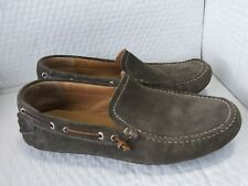 Ecco Gray Suede Driving Mocassins With White Stitching. EU Sz 45