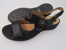 CLARKS Artisan Sarasota Black Leather Strap Sandals Shoes Women's US Size 11 Med