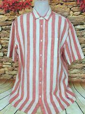 J. Peterman Mens Linen Awning Cabana Striped Camp Shirt Orange White Size L