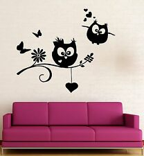 Wall Stickers Owls Birds Branch Heart For Kids Baby Room Vinyl Decal (ig1422)