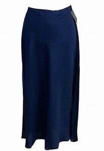 Vince Camuto Womens Slip Skirt Blue Size Large L Satin A-Line Midi $99 234