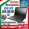 """PC NOTEBOOK LENOVO THINKPAD T430 14"""" CPU i5 4GB RAM SSD 180GB WIN10 PRO BUONO!"""