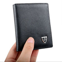 Men's Leather Bifold ID Credit Card Holder Wallet Small Purse Billfold Thin