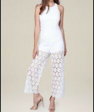 Bebe Womens Jumpsuit Lace Culotte Floral Sleeveless Straight White Size 10