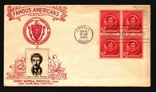 US SC# 885 FDC / Red Cachet / BK of 4 / Erased Add - Z20615