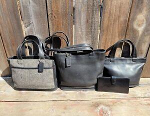 LOT 3 VTG COACH BLEEKER BAG'S HERRINGBONE LARGE/SMALL TOTE SHOULDER BAG & WALLET