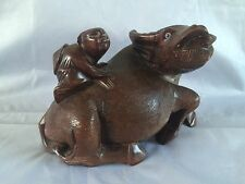 ANTIQUE Japanese Wood Carving Of Water Buffalo wtth Child  Riding.