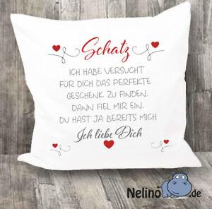 Kissen bedruckt Schatz Ich liebe dich ♥Geschenk♥Geburtag♥Hochzeit♥Valentinstag