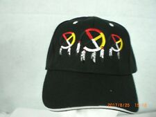 Ball Cap, Indian Design, 3 Medicine Wheels, Black