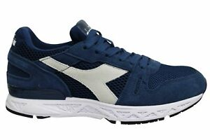 Diadora Titan Reborn Navy Blue Leather Low Lace Up Mens Running Trainers 60030