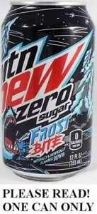 Mountain Dew Frost Bite Zero USA 2021 FULL NEW 12oz Pepsi Wal*Mart Exclusive