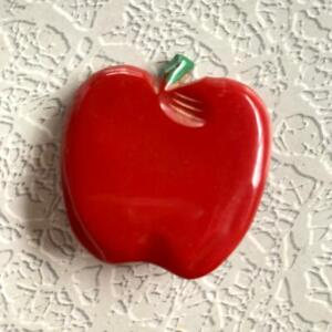 Vintage Large Bakelite Button Realistic Apple